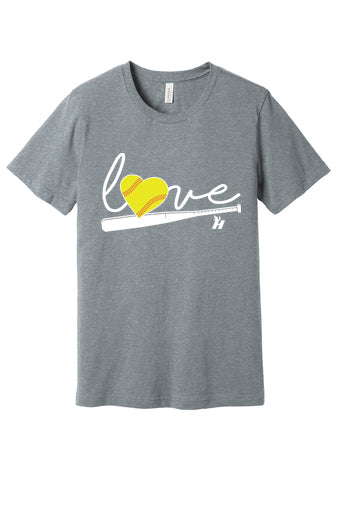 Love Softball Short Sleeved Tee