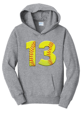 Custom Number Softball Hoodie