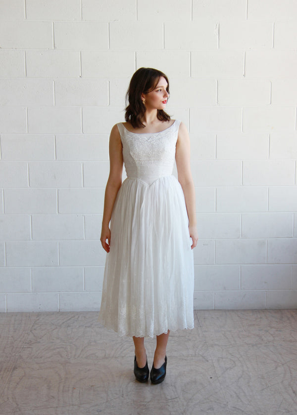 BISOUS, BISOUS / THE YVES DRESS / Vintage 1950s White Eyelet Ballerina Dress / XS/ Small