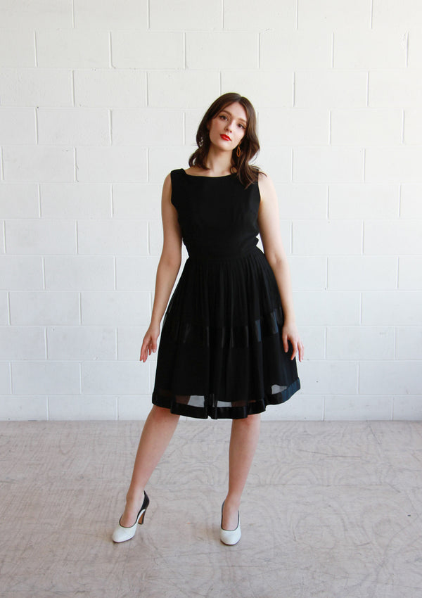 Vintage 1950s Black Ballerina Dress / The KATE Dress / S/M