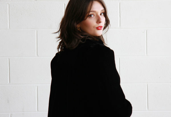 Vintage 1940s Black Velvet Opera Coat / The MAZZY STAR Coat / S/M