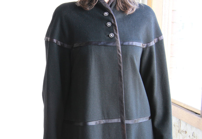 Vintage 1940s Swing Coat / Starburst Buttons / The ZELDA Coat / S/M