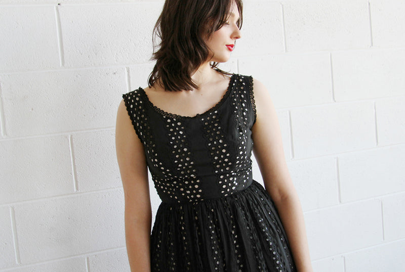 Vintage 1960s Black Eyelet Dress / The BRIGITTE Dress / XS