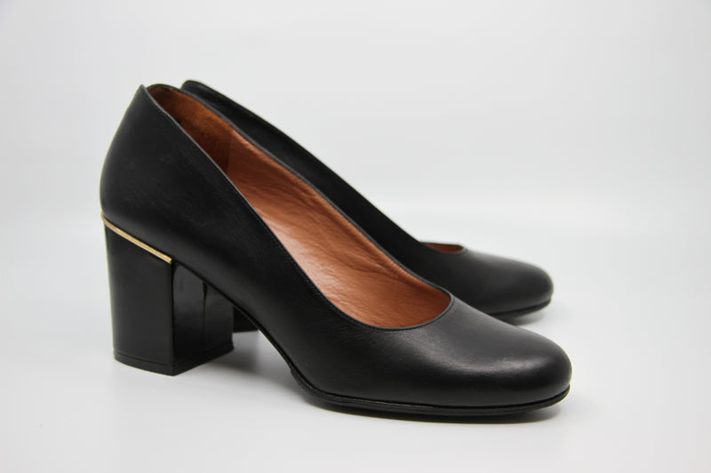 Robert Clergerie Paris / Ballerina Black Block Heels / Gold Trim / Made in France / 39