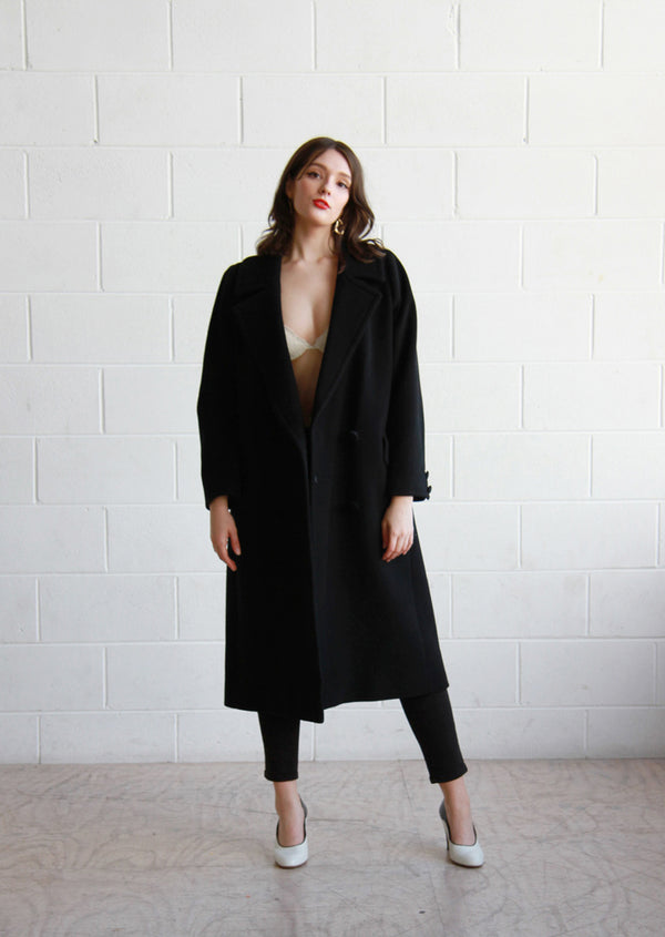 BISOUS, BISOUS / THE GRACE COAT / Vintage VALENTINO Miss V Black Wool Overcoat / Medium / Large
