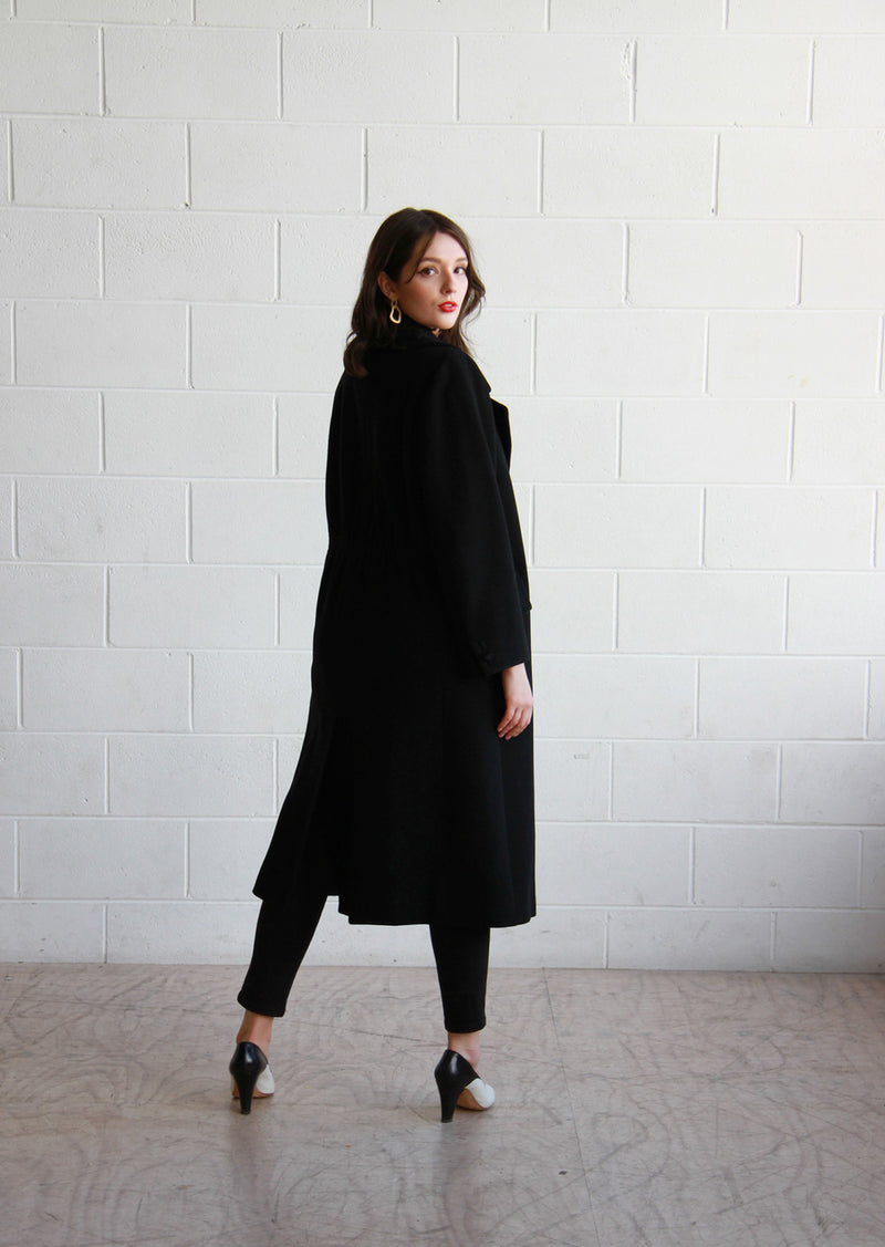 Vintage VALENTINO Miss V Black Wool Overcoat / The GRACE Coat / M/L