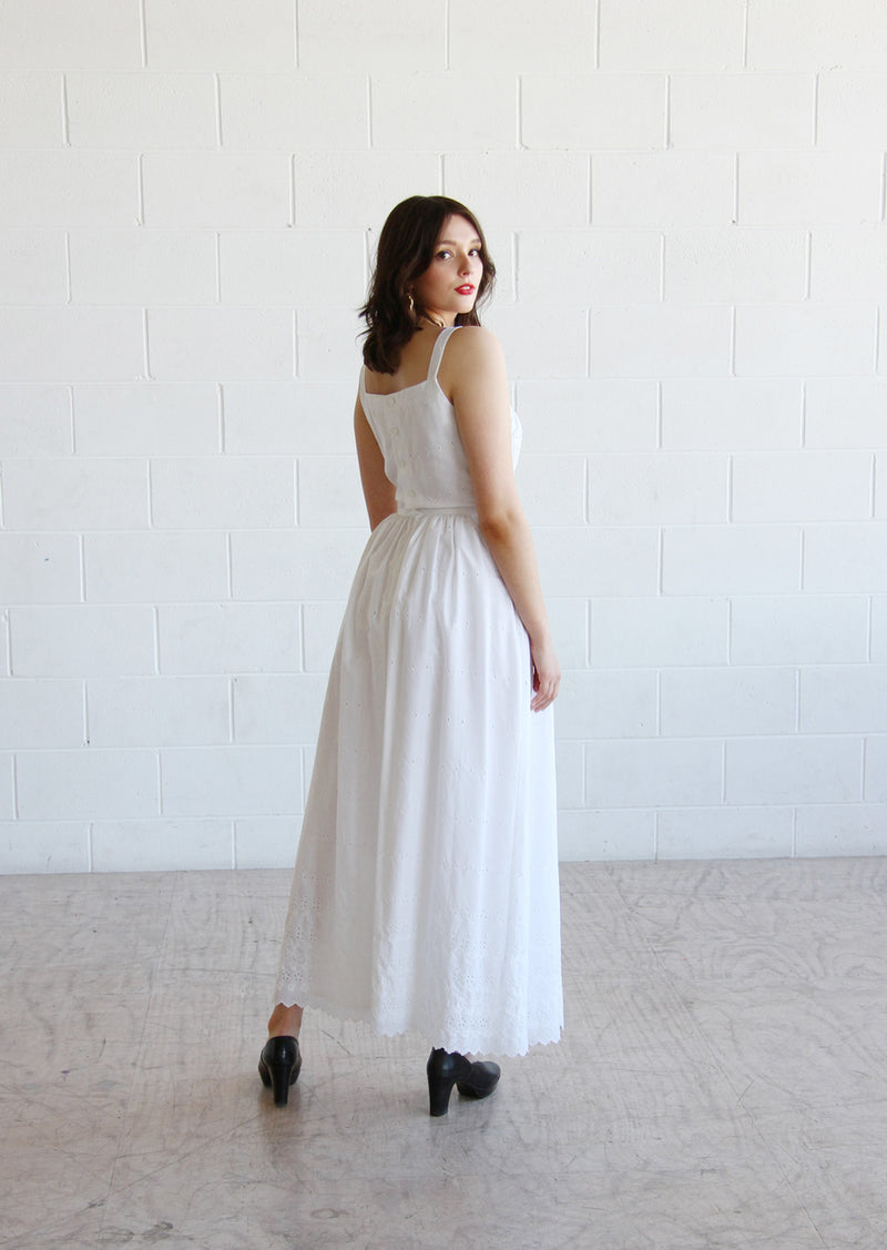 Vintage 1970s LANZ White Eyelet Dress / The JONI Dress / XS/S