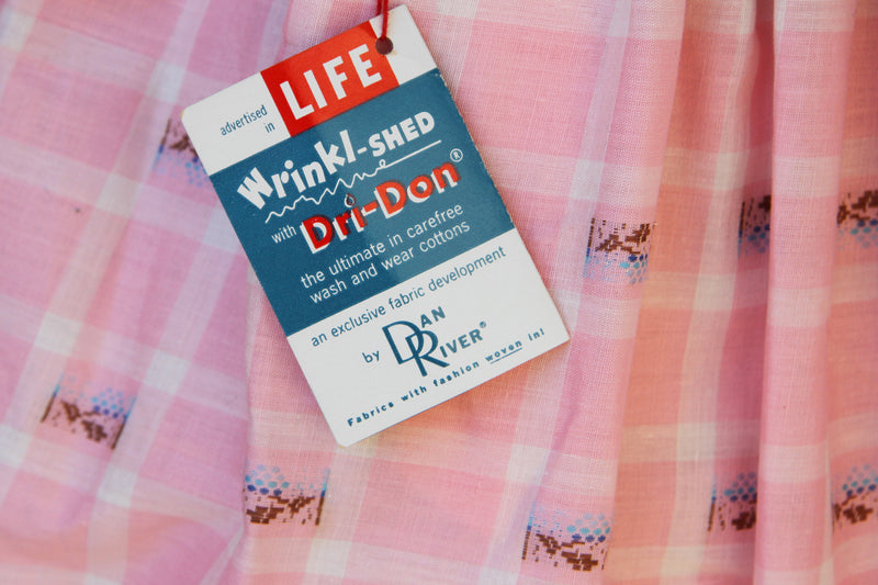 Vintage 1950s Pink Plaid Cotton Dress / DEADSTOCK / S