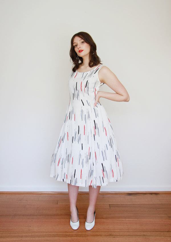 Vintage 1950s Atomic Novelty Print Dress / Small / Medium