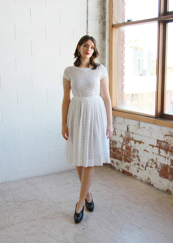 BISOUS, BISOUS / The AMY Dress / Vintage 1950s White Eyelet Dress / XS