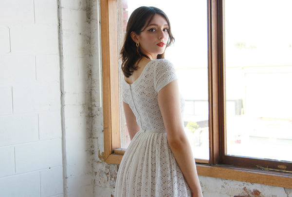 Vintage 1950s White Eyelet Dress / The AMY Dress / XS