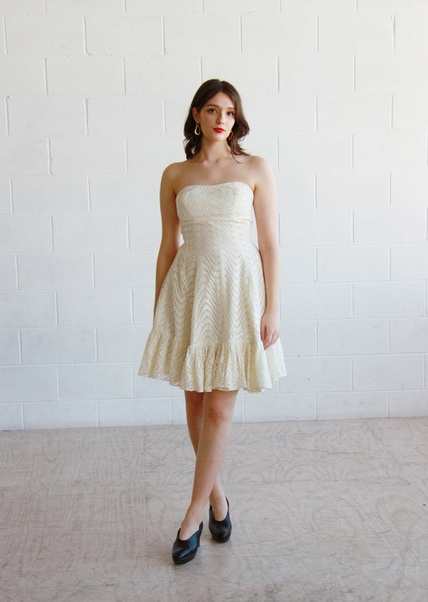 Vintage 1950s Ivory Cream Eyelet Dress / The ELLA Dress / XS/Small