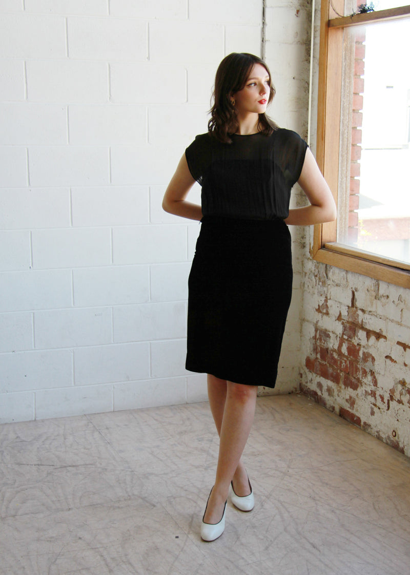 Vintage 1950s Velvet Silk Chiffon Illusion Dress / The BILLIE Dress / Medium
