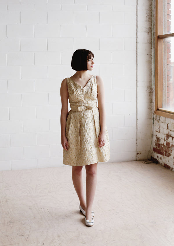 PETITE DANSEUSE / The CLEOPATRA Dress / Vintage 1960s Champagne Gold Brocade Dress /  XS/S