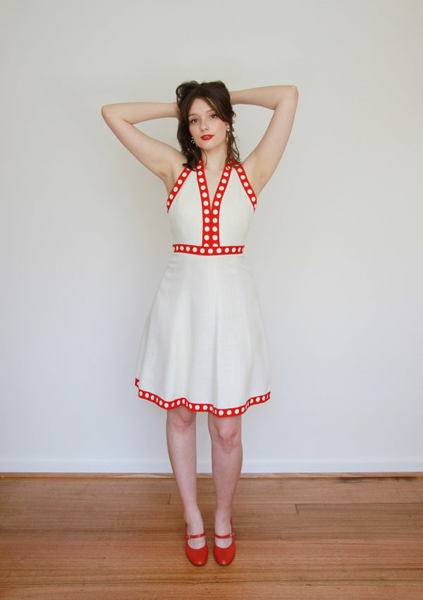 A Certain Smile / Vintage 1960s White Red Polka Dot Halter Dress / MOD / Small