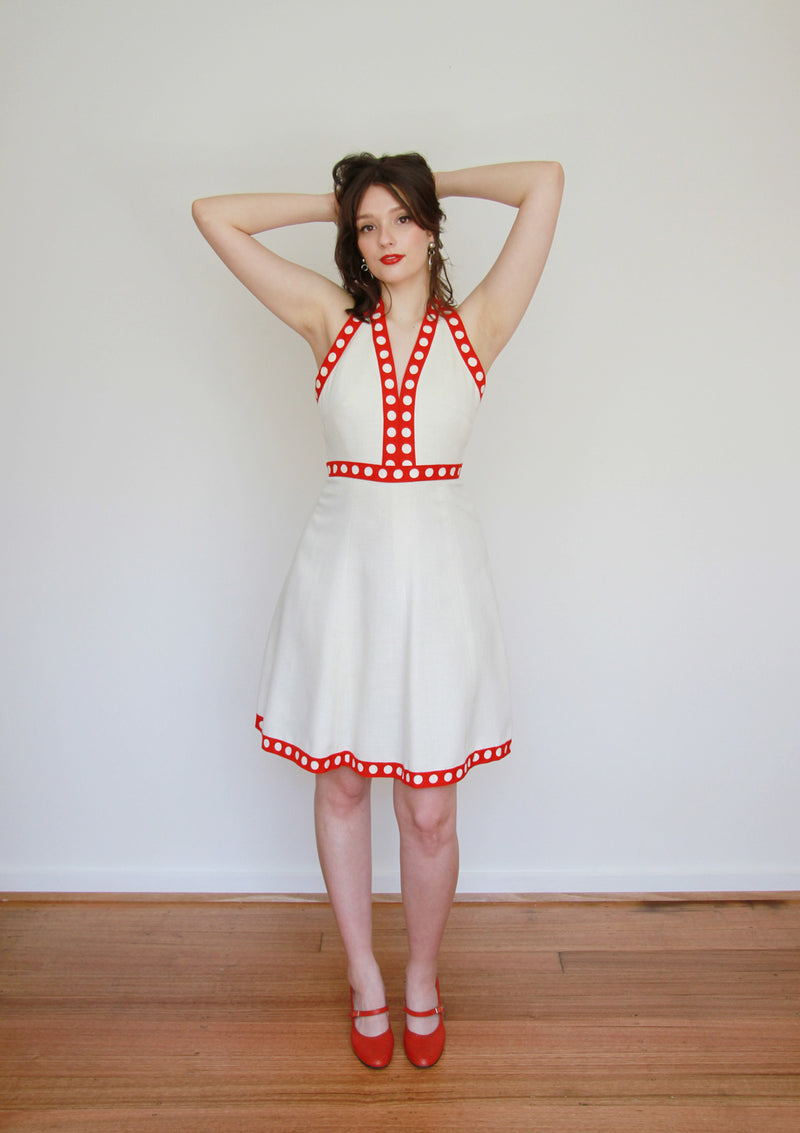 Vintage 1960s Polka Dot Halter Dress / MOD / Small