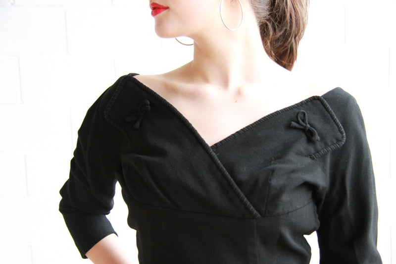 Vintage 1960s Black Wool Dress / Harvey Berin Designed by Karen Stark / M