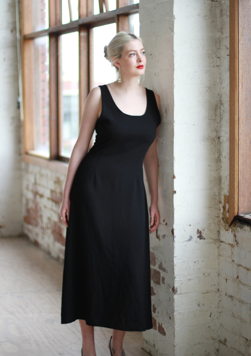 Vintage Black Tank Maxi Dress / Made in Italy / M