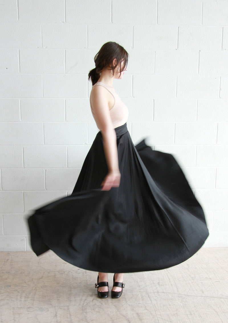 Vintage 1950s Black Satin Ballerina Skirt / COUTURE / XXS