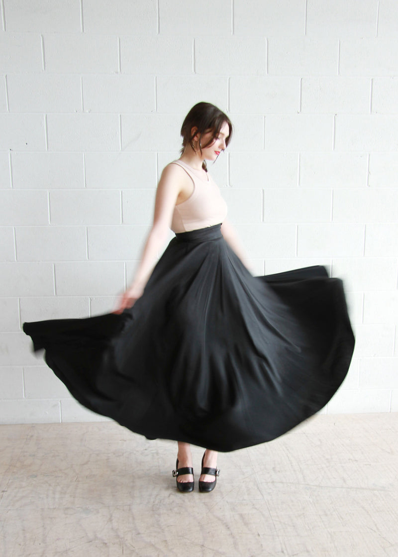 The Sleeping Beauty / Vintage 1950s Black Satin Ballerina Skirt / COUTURE / XXS