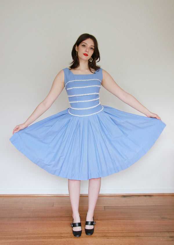 Vintage 1950s Cornflower Blue Cotton Sundress / Small