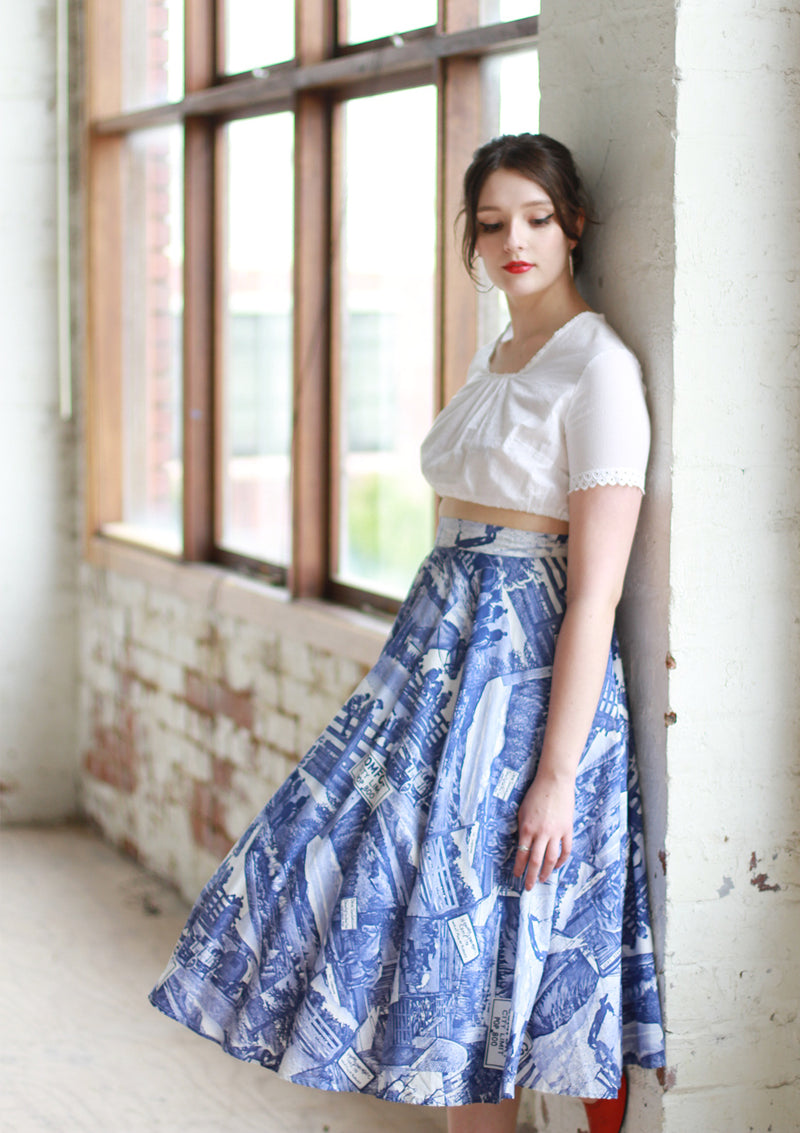 Vintage 1950s Cowboy Novelty Print Cotton Circle Skirt / Small