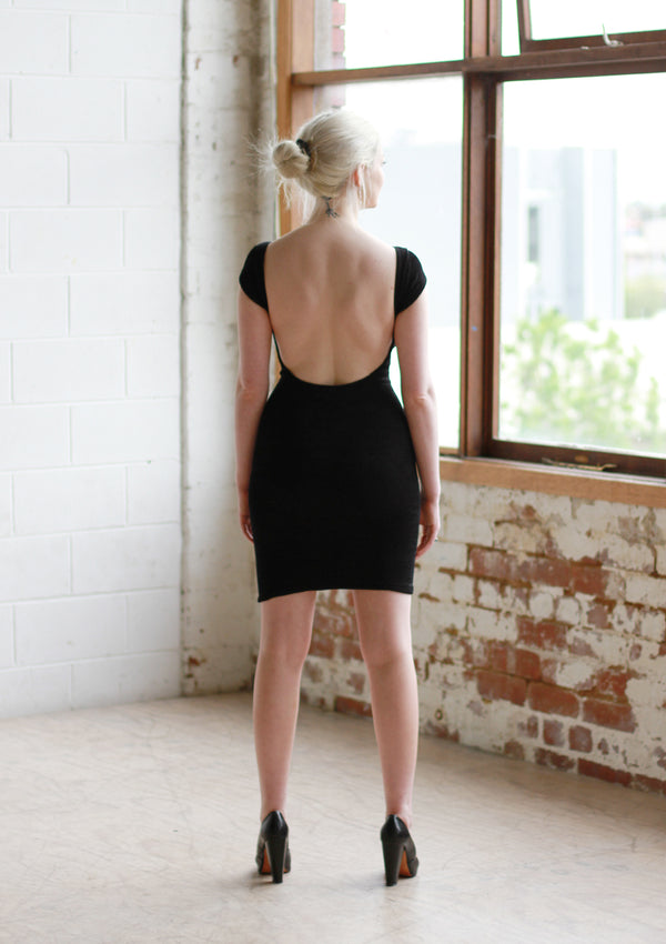 Vintage 90s Black Textured Body Con Dress / Low Back / XS