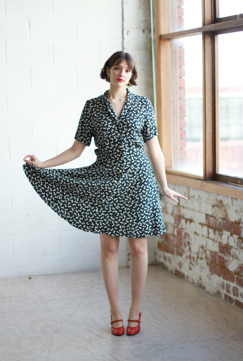 Vintage French Navy Bow Dress / M