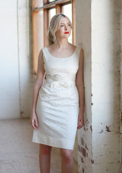 Vintage 1960s White Brocade Marilyn Dress / S/M