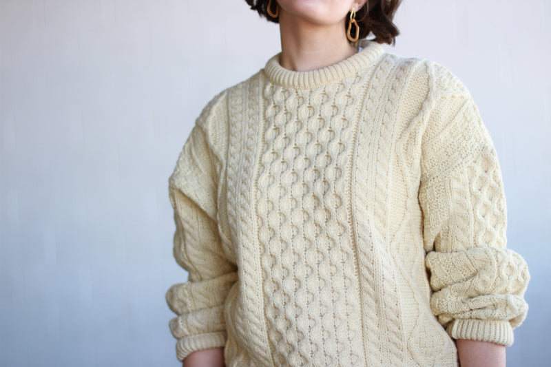 Vintage 1970s Cream Cable Knit Wool Sweater / Made in Ireland