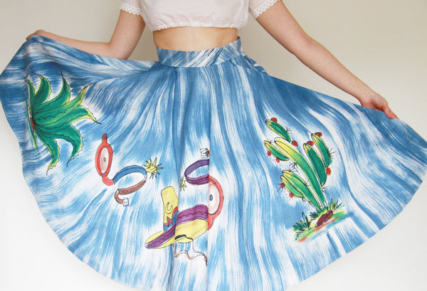 It's A Beautiful Day / Vintage 1950s CACTUS Mexican Handpainted Novelty Skirt / Large
