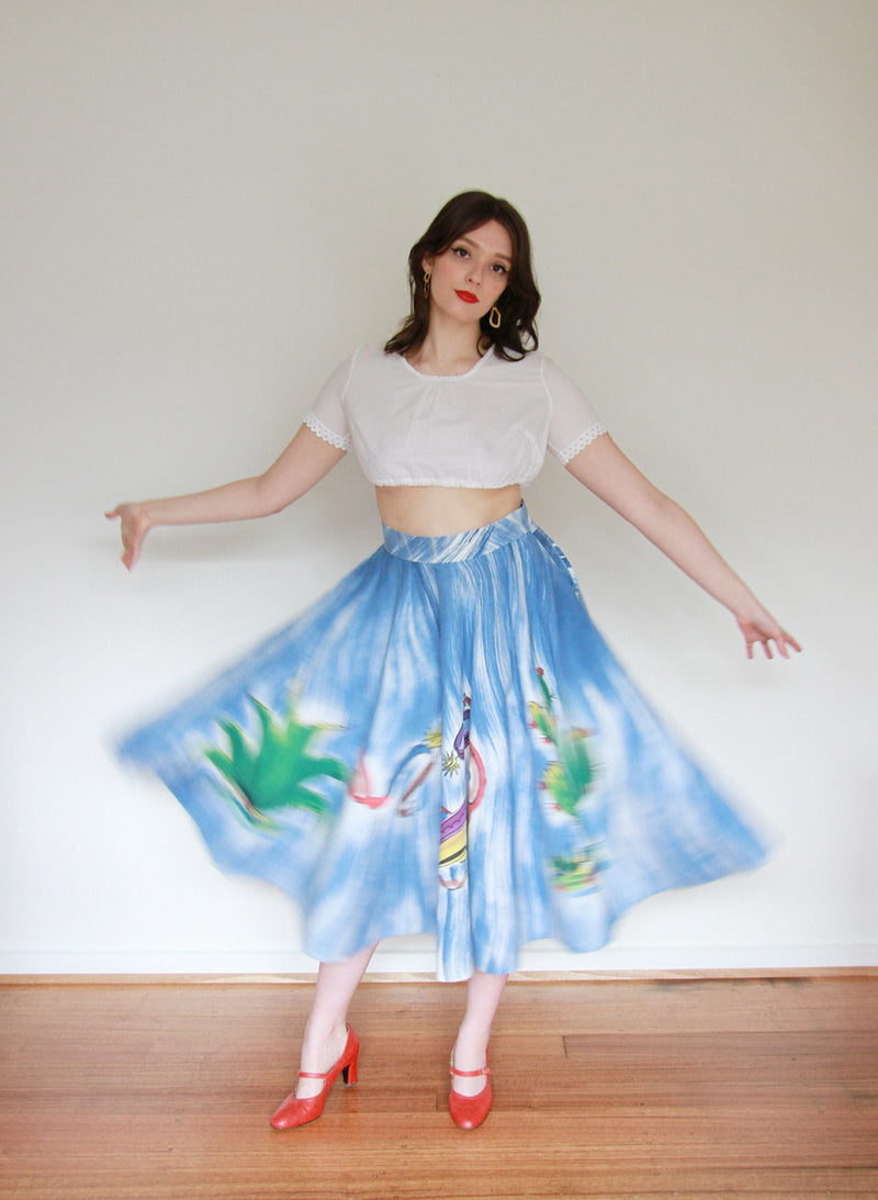 Vintage 1950s Mexican Novelty Skirt / Large
