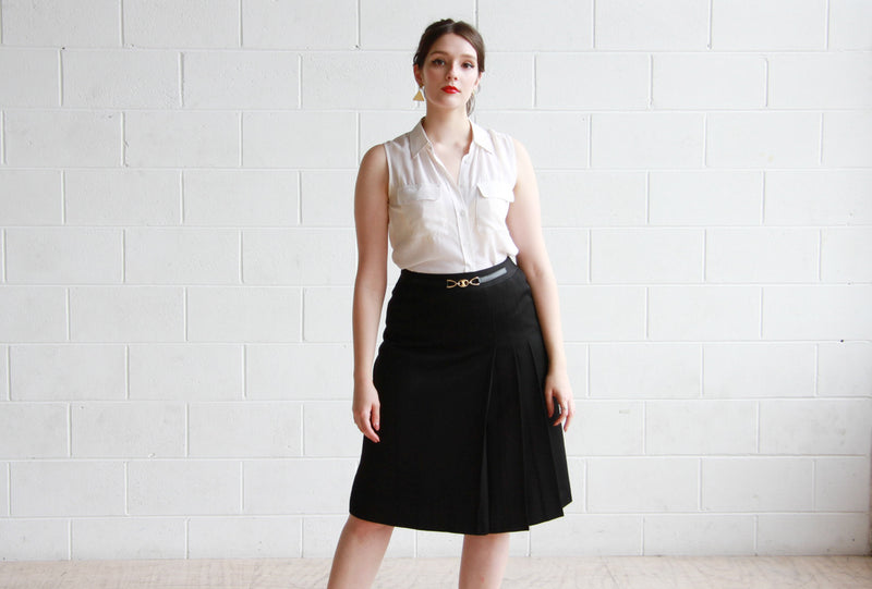 Vintage 1970s CELINE Paris Black Wool Skirt / Made in France / M/L