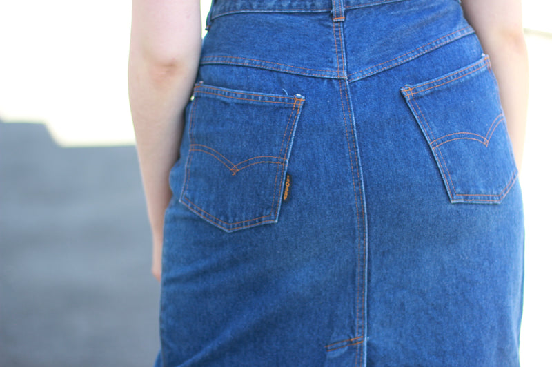 Vintage 1970s Blue Denim Skirt / M/L
