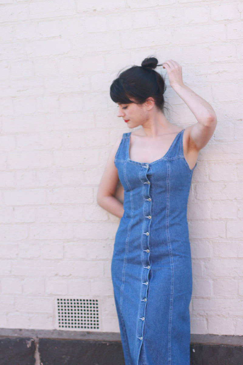 Vintage Denim Button Dress / Scoop Back / Made in France / XS