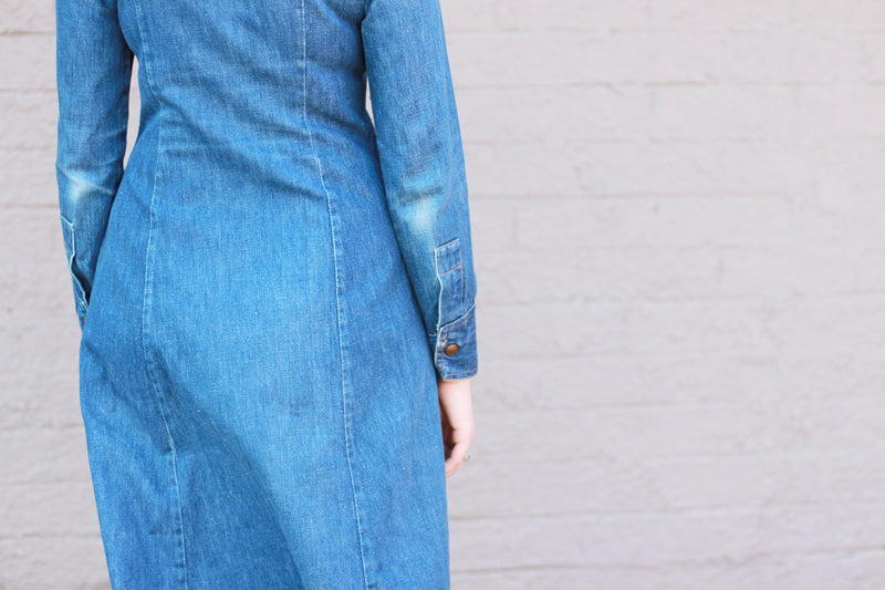 Vintage 1970s Joseph Magnin Denim Dress / Long Sleeve / Small / Medium