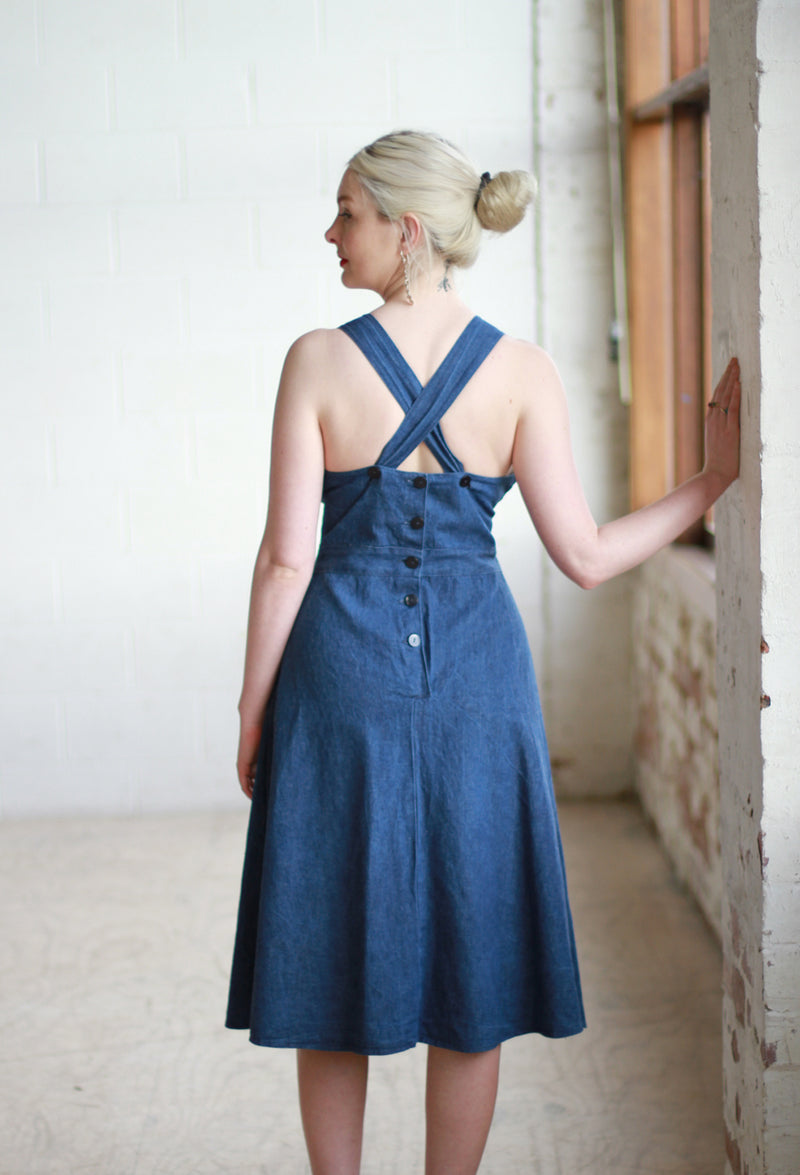 Vintage 1970s Denim Dress / Cross Back Straps / Made in Italy / M