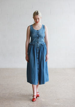 Vintage French Button Front Denim Maxi Dress / S/M