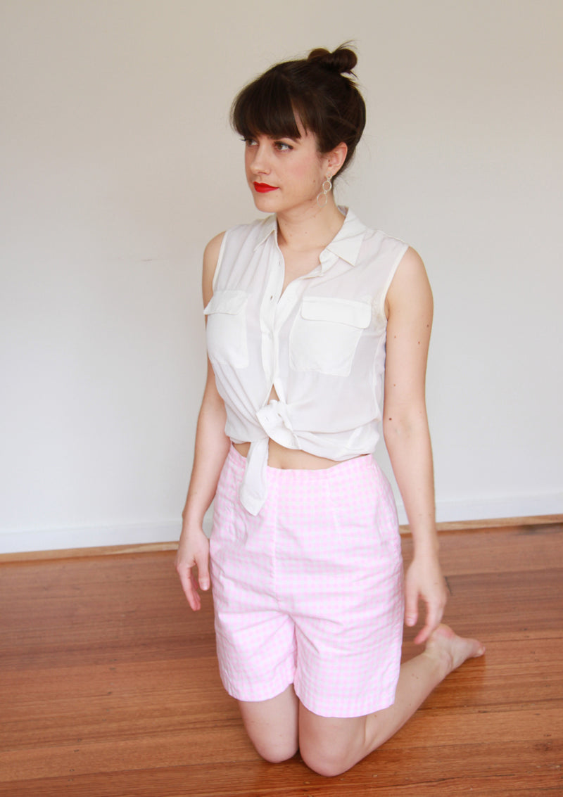 Vintage 1960s Pink Gingham Shorts / S/M