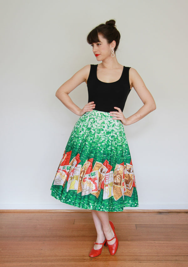 Vintage 1950s Moulin Rouge French Novelty Print Skirt / S/M