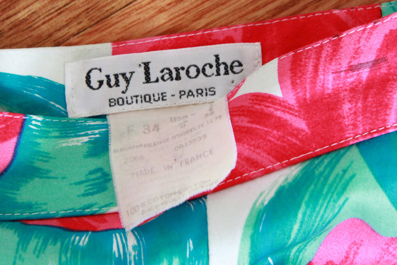 Vintage Guy Laroche Poppy Skirt / Made in France / XS