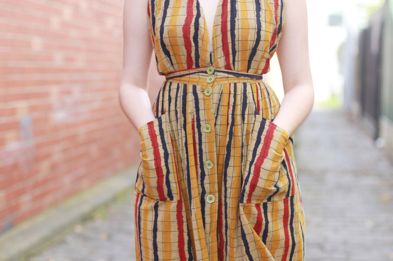 Vintage 1970s Halter Sundress / Made in Italy / XS