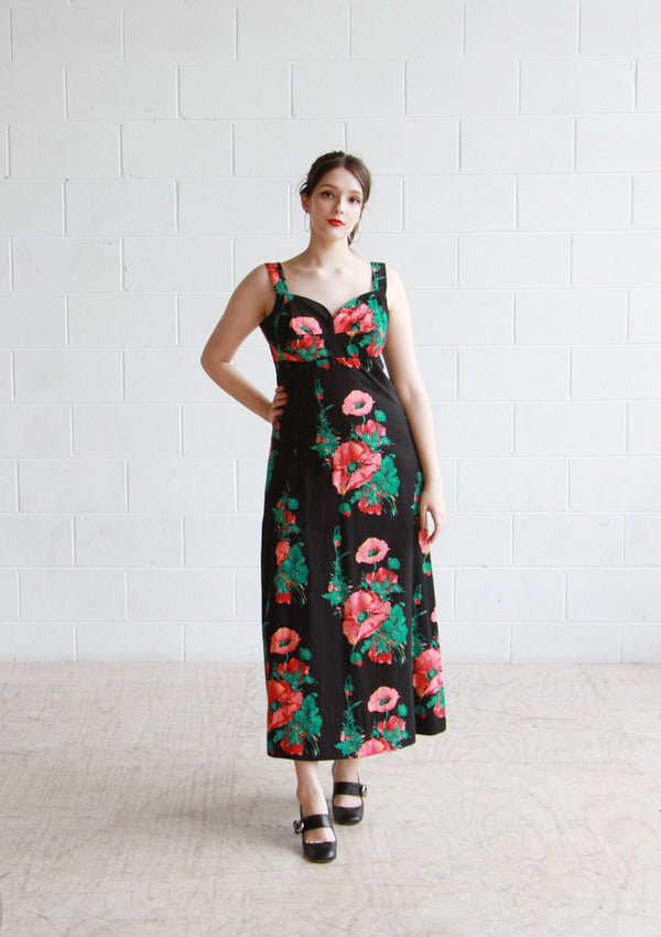 Vintage 1950s Horrockses Floral Poppy Sundress / M/L