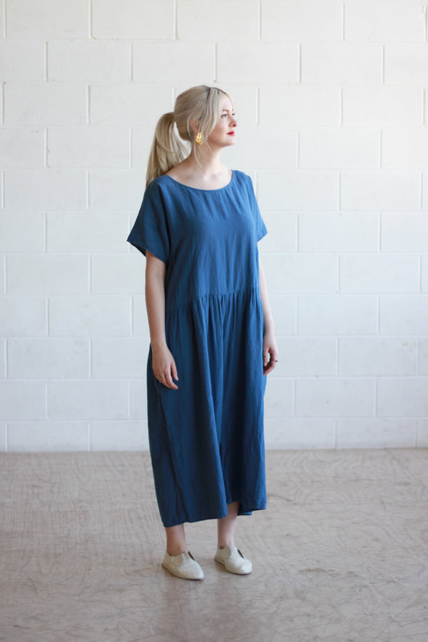 Ilana Kohn Blue Linen Jumpsuit / L / Designer / Made in NYC