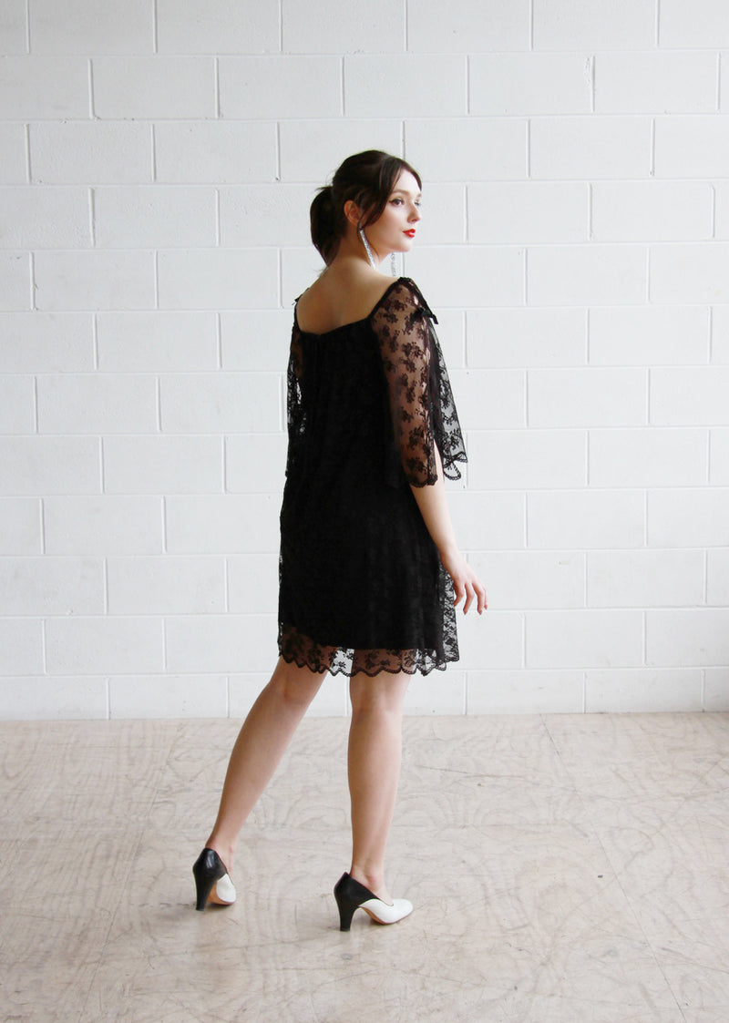 Vintage 1960s Black Lace Swing Dress / Angel Bell Sleeves / S