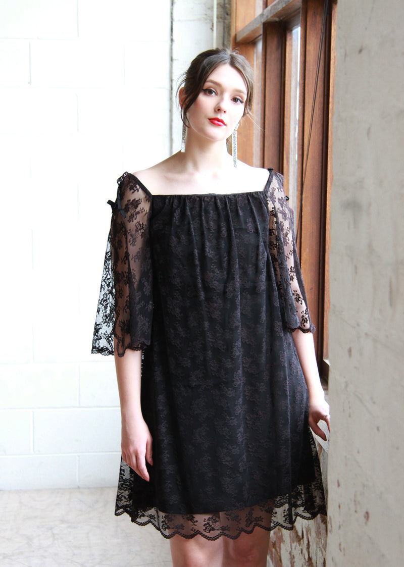 The Sleeping Beauty / Vintage 1960s Black Lace Swing Dress / Angel Bell Sleeves / Small