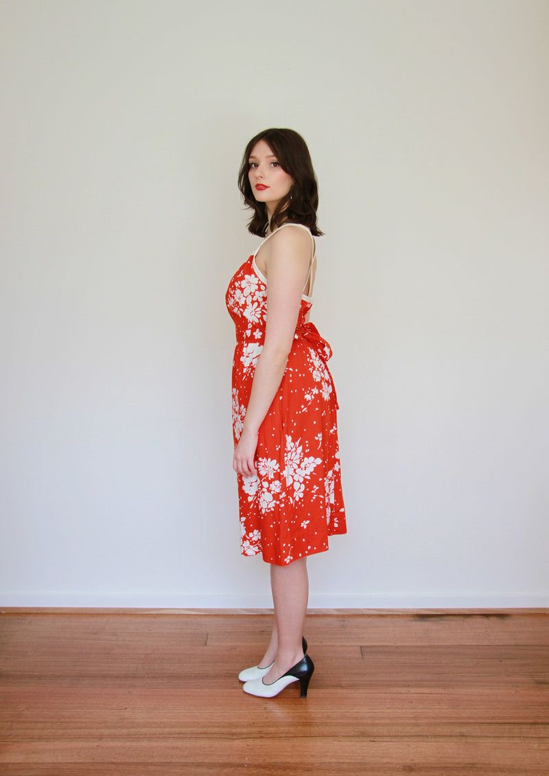 Vintage 1970s LANZ Original Red Floral Sundress / Open Back / Medium
