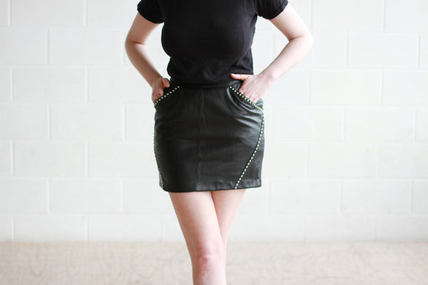 Vintage Black Studded Leather Mini Skirt / XS