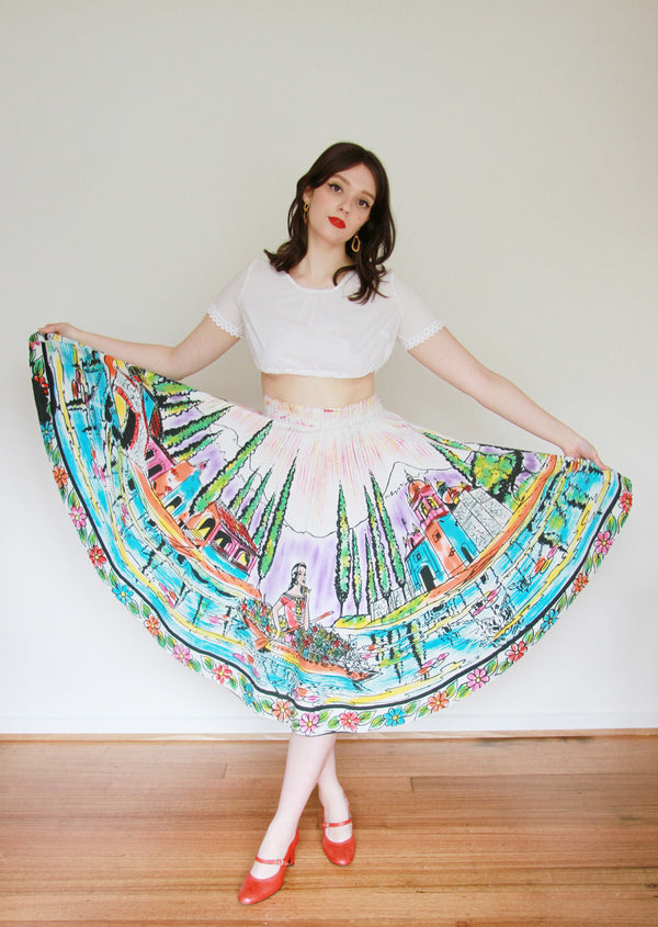 It's A Beautiful Day / Vintage 1950s Mexican Hand Painted Novelty Print Skirt / Large