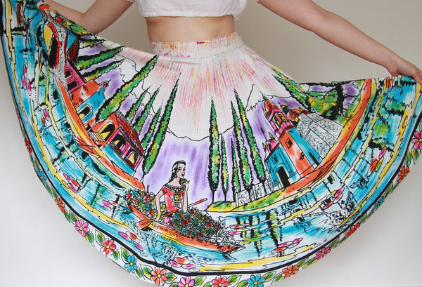 Vintage 1950s Mexican Hand Painted Novelty Print Skirt / Large